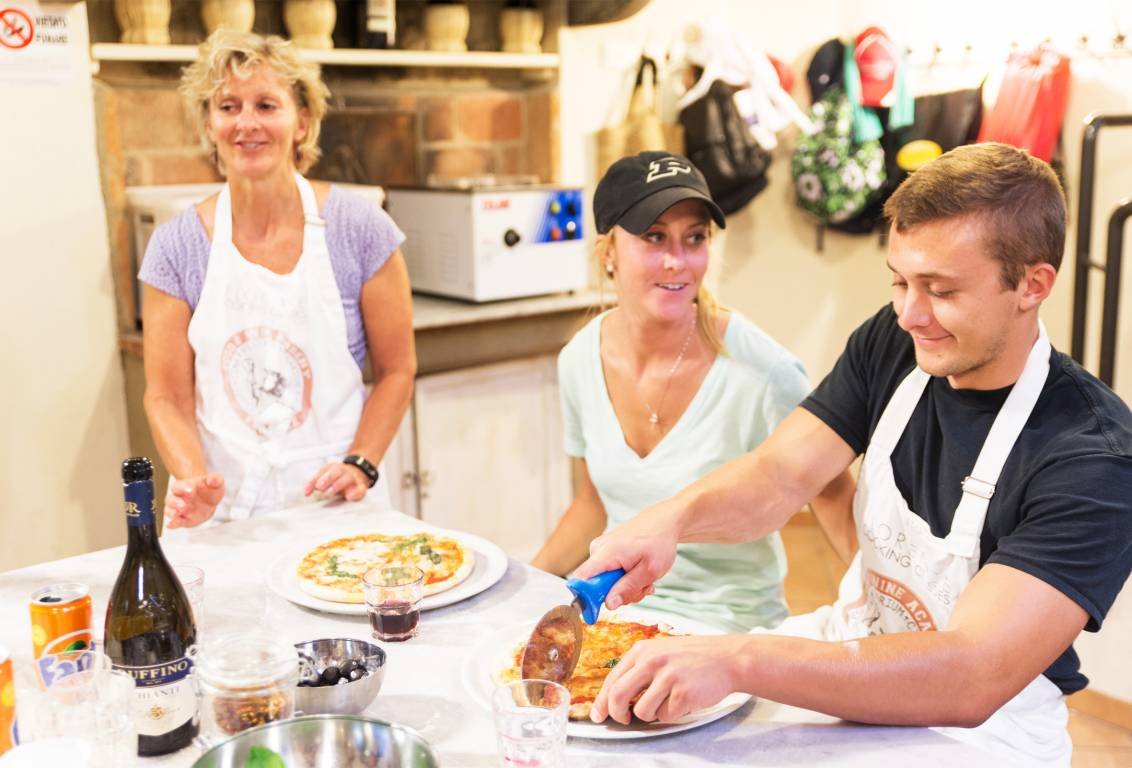 Florencetown pizza class: stretch it, sauce it, bake it, slice it!