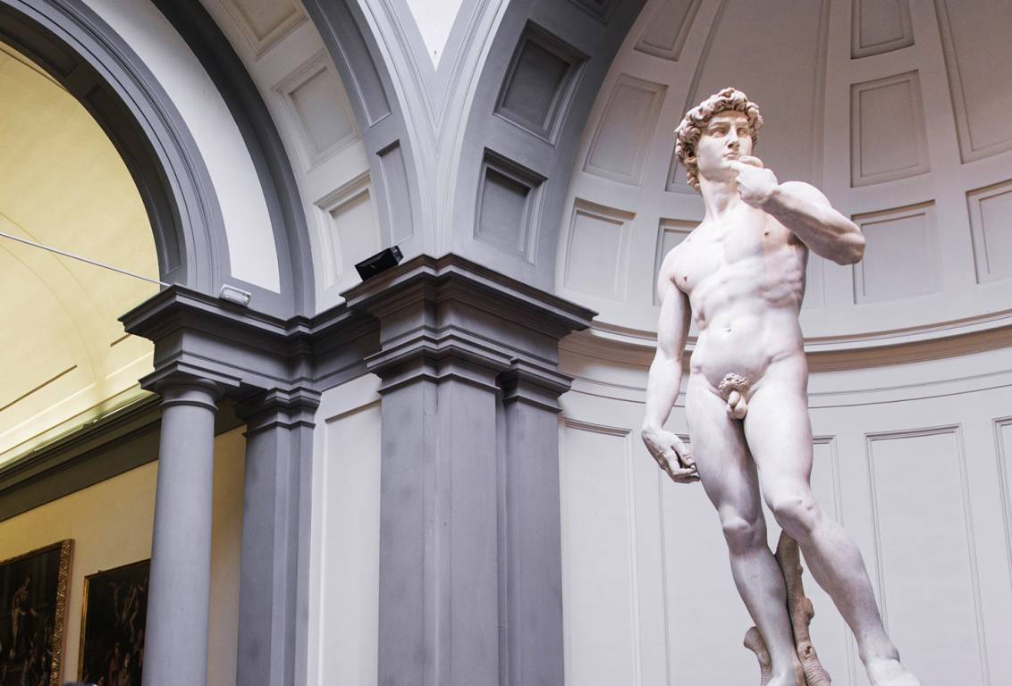during this tour of florence you will admire The David, sculpted by a very young Michelangelo entirely from a single block of local Carrara marble