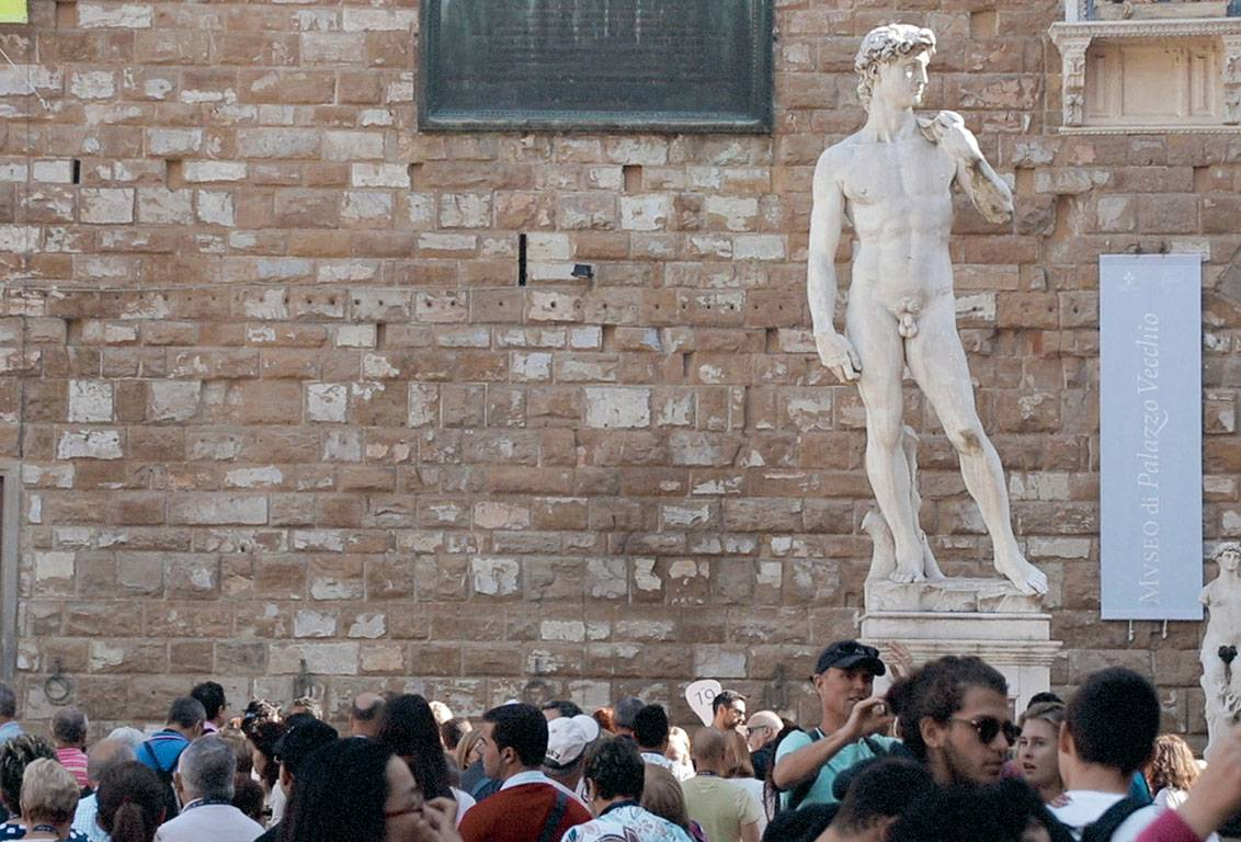 with our florence walking tour you will admire the authentic David of Michelangelo inside the Accademia Gallery but you will also see the copy placed in the piazza della Signoria