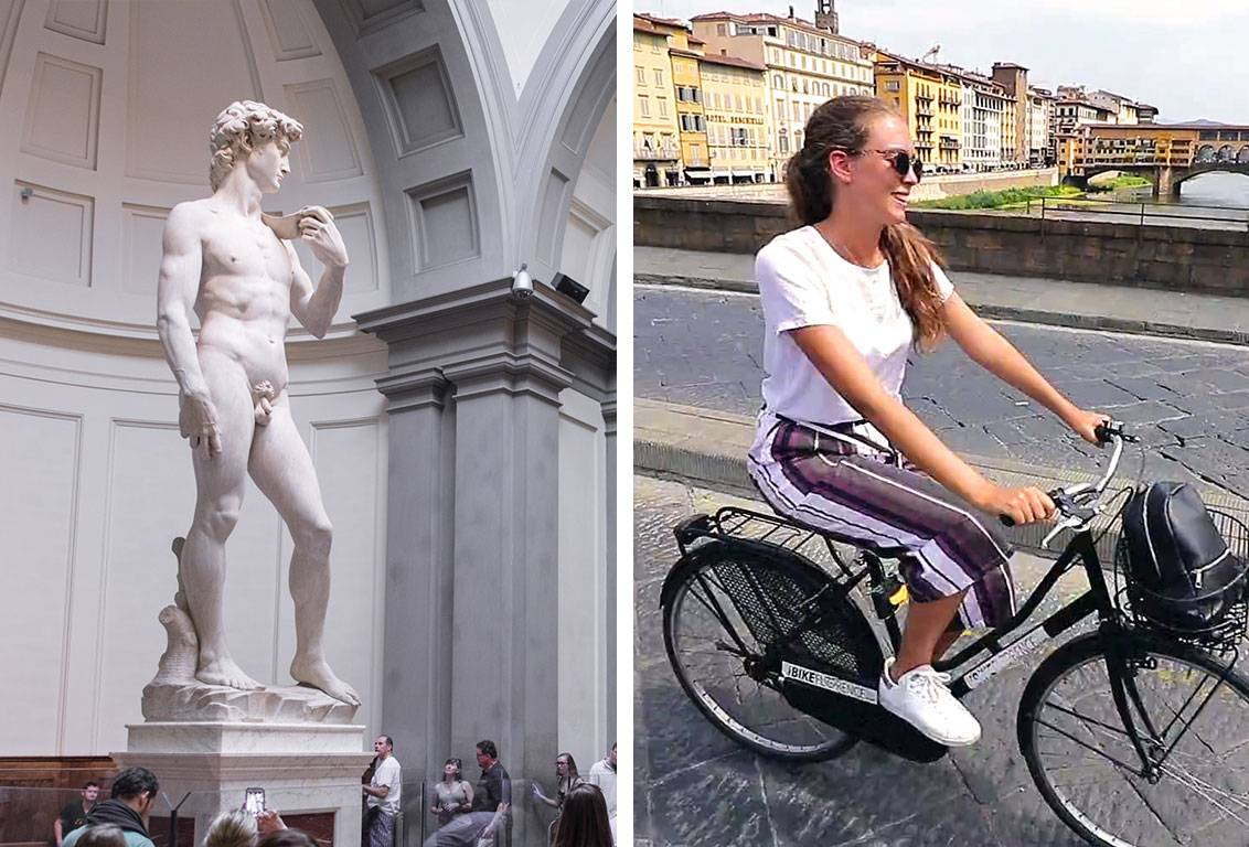 Discover Florence by bike with a professional guide and meet the David in the Accademia Gallery