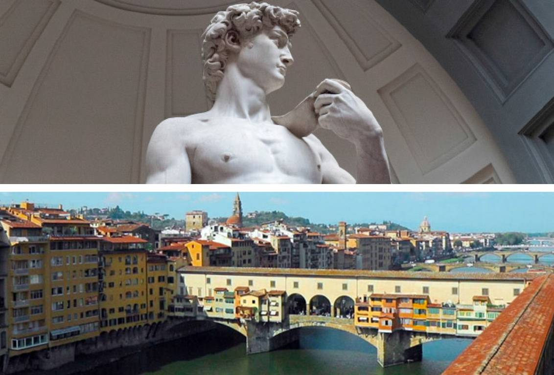 view all the main Florence museums in one day: Accademia, Uffizi Gallery and learn the history and secrets of the Vasari Corridor