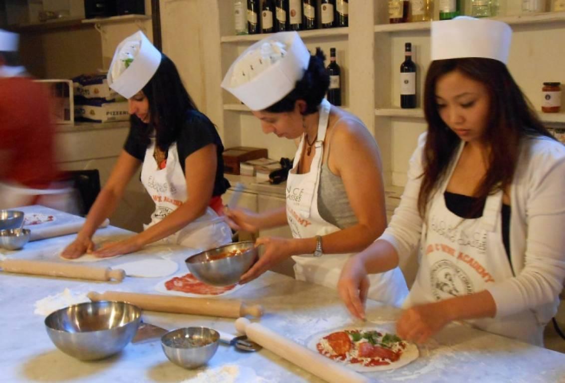 Florencetown pizza class: stretch it, sauce it, bake it, slice it!