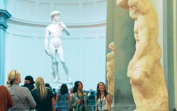 during our Florence walking tour enter the Accademia Gallery museum and discover the original Michelangelo David