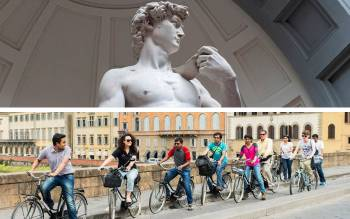 with our florence bike tour you will explore the city center and you will meet David, the greatest masterpiece by Michelangelo
